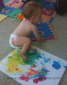 Our artist in action on his 1st birthday