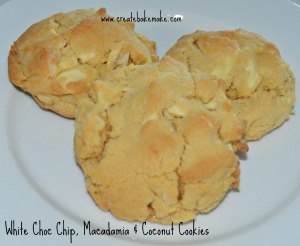white choc chip macadamia and coconut cookies